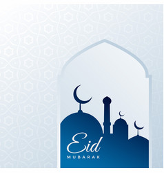 Eid festival greeting background with mosque vector