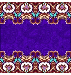 Ethnic stripe ornament on floral violet background vector