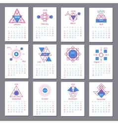 European calendar grid for 2016 year with abstract vector image