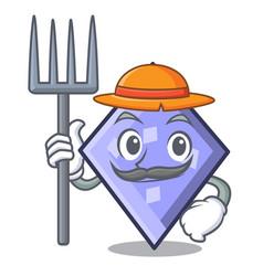 Farmer rhombus character cartoon style vector