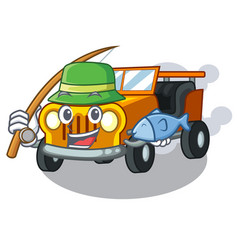 fishing jeep car toys in shape character vector image