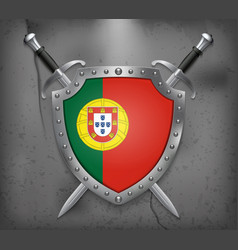 Flag of portugal the shield with national flag vector