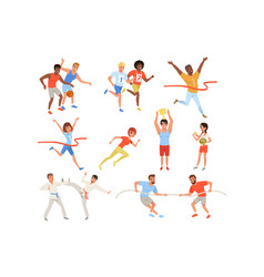 flat sports people taking part in different vector image
