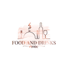 food and drink watercolor logo on white background vector image