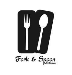 fork spoon restaurant logo white background vector image