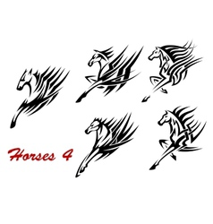 Galloping horses icons or tattoos vector