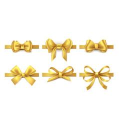 golden ribbon bow holiday gift decoration vector image