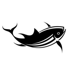 Graphic black tuna on white background vector