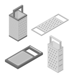 Grater icons set isometric style vector