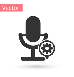 grey microphone and gear icon isolated on white vector image