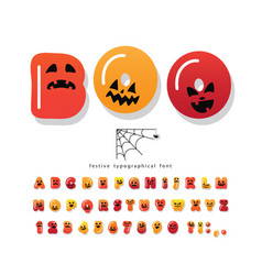 halloween cartoon font cute colorful letters vector image