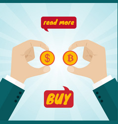 hands giving coin money for bitcoins vector image