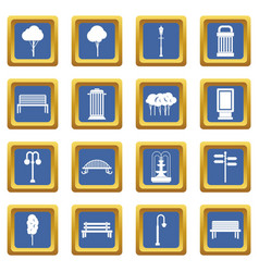 Hangar icons set blue vector