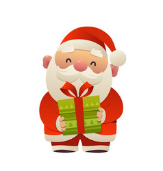 happy cute cartoon santa claus with gift present vector image