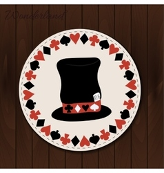 Hatter hat - drink coaster from Wonderland vector image