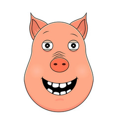 head of happy pig in cartoon style kawaii animal vector image