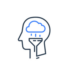 Human head and rainy cloud cognitive psychology vector