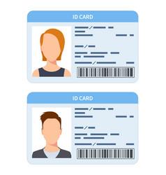 id card women and men plastic identification vector image