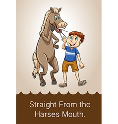 Idiom straight from the harses mouth vector