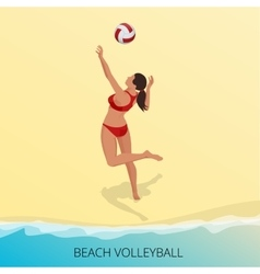 Isometric Volleyball player on a beach vector