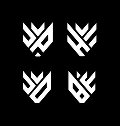 Letter j u c v d b e h jp he jd be logo vector