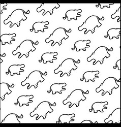 line silhouette hippopotamus safari animal vector image