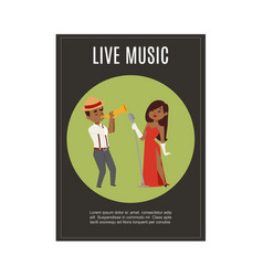 live music band playing jazz with female black vector image