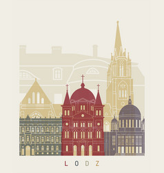 lodz skyline poster vector image