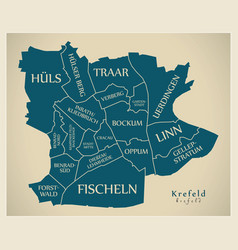 Modern city map - krefeld city of germany with vector