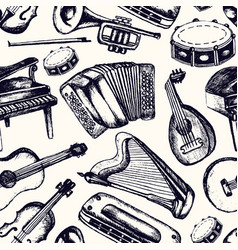 musical instruments - one color hand drawn vector image