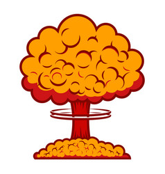 Nuclear burst in comic style design element vector