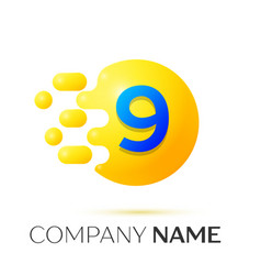 Number nine splash yellow dots and bubbles number vector