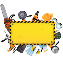 Old Yellow Frame with Tools vector