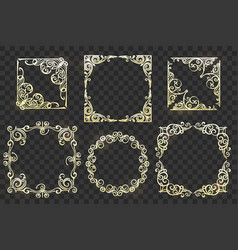 ornate frames set on transparent background vector image