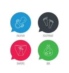 Pacifier footprint and child diapers icons vector
