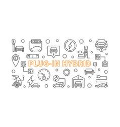 plug-in hybrid minimal banner in outline vector image