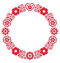 Polish folk art round frame design vector