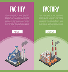 Pollution industry isometric vertical flyers vector