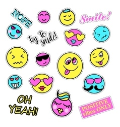 Pop art set with fashion patch badges Smiles vector