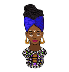 portrait an african princess isolated on a vector image