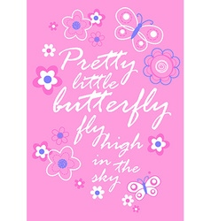 pretty little butterfly with flowers embroidery vector image