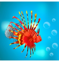 Red fish among the bubbles vector image