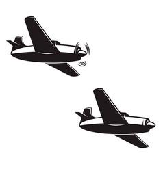 Retro airplane design element for logo label sign vector