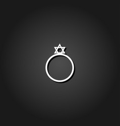 ring david star icon flat vector image
