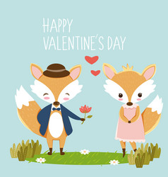 romantic fox for valentines card vector image