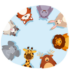 Round border with cute animals vector