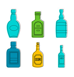 rum bottle icon set color outline style vector image