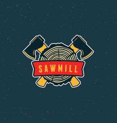 Sawmill logo retro styled woodwork emblem vector