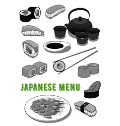 seafood sushi rolls for japanese menu vector image