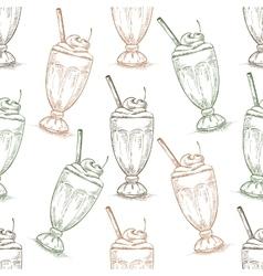 Seamless pattern cherry milkshake scetch vector image